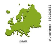 isometric map of europe... | Shutterstock . vector #580263883