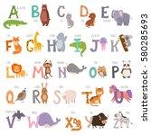 Cute Zoo Alphabet With Cartoon...