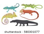 different kind of lizard... | Shutterstock .eps vector #580301077