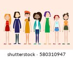 woman group casual people big... | Shutterstock .eps vector #580310947