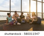 young people group sitting on... | Shutterstock . vector #580311547
