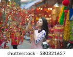 beautiful vietnamese girl with... | Shutterstock . vector #580321627