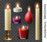 Candle Flame Set Realistic...