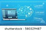 laptop computer brainstorming...   Shutterstock .eps vector #580329487