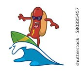 cartoon cool surfing hotdog... | Shutterstock .eps vector #580335457
