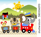 holiday time with old train ... | Shutterstock .eps vector #580336093