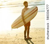 square image of male surfer... | Shutterstock . vector #580336777