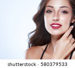 beautiful woman skin tanned red ... | Shutterstock . vector #580379533
