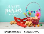 purim holiday greeting card... | Shutterstock . vector #580380997