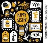 easter hand drawn  scrapbooking ... | Shutterstock .eps vector #580429657