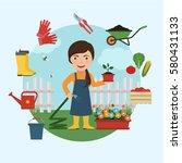gardener watering flowers in... | Shutterstock .eps vector #580431133