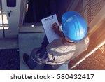 engineer or electrician working ...   Shutterstock . vector #580432417