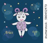 aries zodiac sign on night sky... | Shutterstock .eps vector #580452973