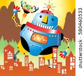 giant robots attack the city ... | Shutterstock .eps vector #580460533
