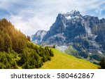 impressive view of alpine eiger ... | Shutterstock . vector #580462867
