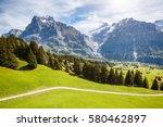 impressive view of alpine eiger ... | Shutterstock . vector #580462897