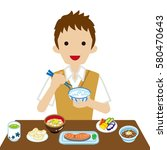 schoolboy eating japanese... | Shutterstock .eps vector #580470643