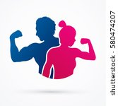 fitness silhouette man and... | Shutterstock .eps vector #580474207