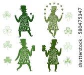 set of cartoon leprechauns... | Shutterstock .eps vector #580475347