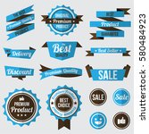 set of blue badges   labels and ... | Shutterstock .eps vector #580484923