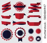 set of red badges   labels and... | Shutterstock .eps vector #580484947