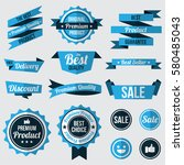 set of blue badges   labels and ... | Shutterstock .eps vector #580485043
