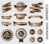 set of brown badges   labels... | Shutterstock .eps vector #580485073
