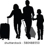 silhouette vector of happy... | Shutterstock .eps vector #580488553