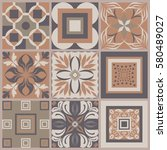 collection of 9 ceramic tiles... | Shutterstock .eps vector #580489027