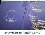 ascii art of drink cup and html ... | Shutterstock . vector #580492747
