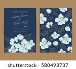 wedding invitation. floral... | Shutterstock .eps vector #580493737
