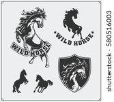 horse heraldry coat of arms.... | Shutterstock .eps vector #580516003