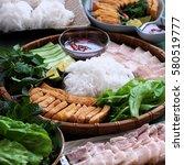 delicious vietnamese food  bun... | Shutterstock . vector #580519777