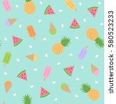 cute summer seamless pattern... | Shutterstock .eps vector #580523233