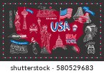 illustrated symbol set with usa ... | Shutterstock .eps vector #580529683