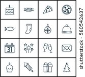 set of 16 holiday icons.... | Shutterstock . vector #580542637