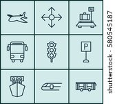 set of 9 shipping icons.... | Shutterstock . vector #580545187