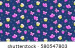 romantic seamless pattern with... | Shutterstock .eps vector #580547803