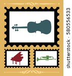 set of stamps with musical... | Shutterstock .eps vector #580556533