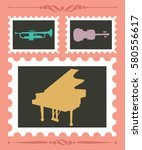 set of stamps with musical... | Shutterstock .eps vector #580556617