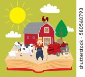 farm set that pop up from book  ... | Shutterstock .eps vector #580560793