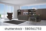 modern gray and brown kitchen... | Shutterstock . vector #580561753