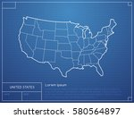 blueprint with map of the... | Shutterstock .eps vector #580564897