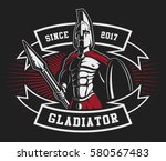 gladiator logo with spear and... | Shutterstock .eps vector #580567483