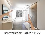planned renovation of a luxury... | Shutterstock . vector #580574197