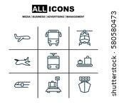 set of 9 transportation icons.... | Shutterstock . vector #580580473
