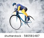 cyclist stylized vector  road... | Shutterstock .eps vector #580581487