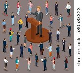 trendy people isometric vector... | Shutterstock .eps vector #580583323