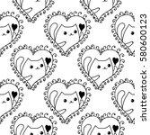doodles cute seamless pattern.... | Shutterstock .eps vector #580600123