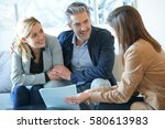 real estate agent reading terms ... | Shutterstock . vector #580613983
